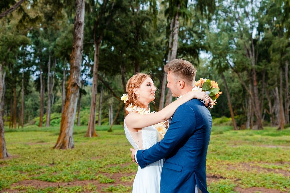 kauai wedding bride and groom in forest