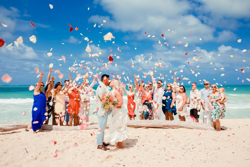 kauai wedding elopement beach celebration bride and groom