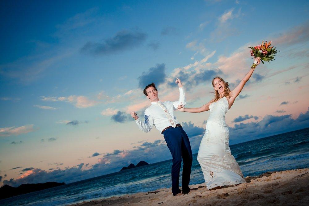 wedding celebration on beach bride and groom