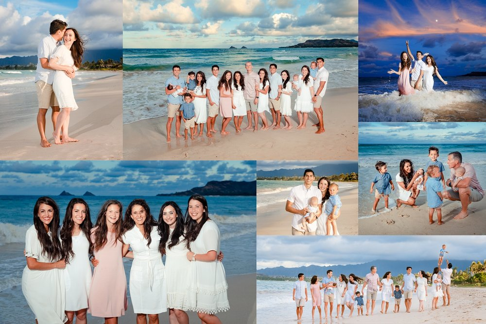 Family vacation beach portrait collage