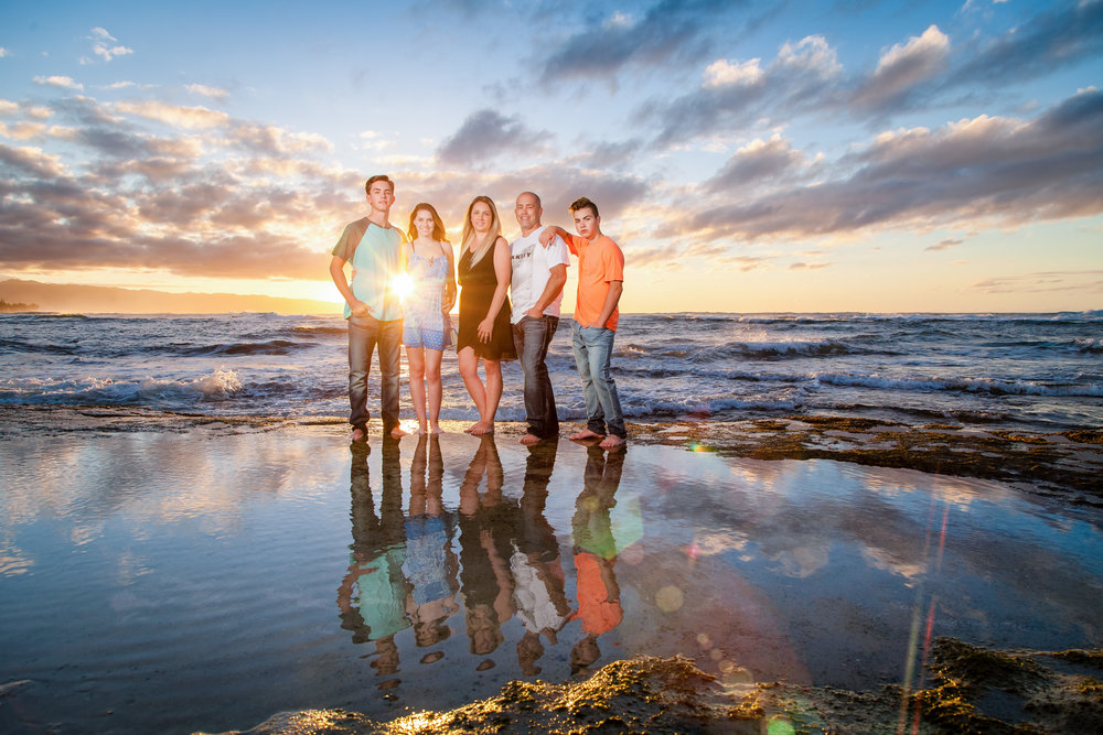 family sunset portrait beach reflection north shore oahu hawaii