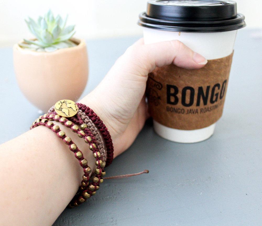 HUGG The World Triple Wrap Bracelet and Simple Macrame Bracelet