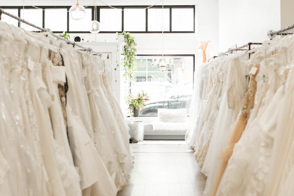 sustainable wedding dress shop