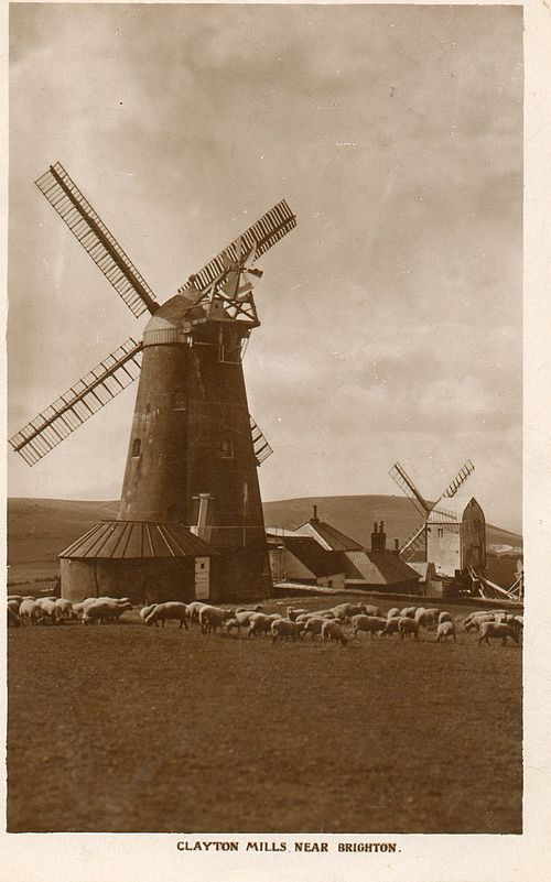 Jack and Jill Windmills in the 19th century.  Duncton roundhouse in foreground