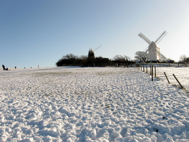 Jack and Jill windmills in the snow