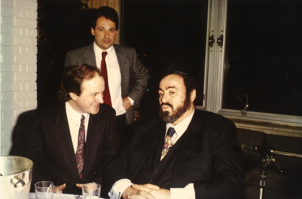 Luciano Pavarotti, James Naughtie, and Graham Sheffield