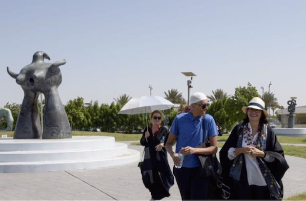 Kirsty Lang, Mohammed Qasim Ashfaq and Emma Dexter at the Jameel public sculpture park, Jeddah