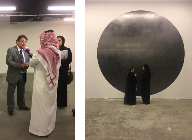 L: Graham being interviewed at the opening of 'We Are Not Alone'; R: Mohammed Qassim Ashfaq art work titled Black Sun at Athr Gallery Jeddah