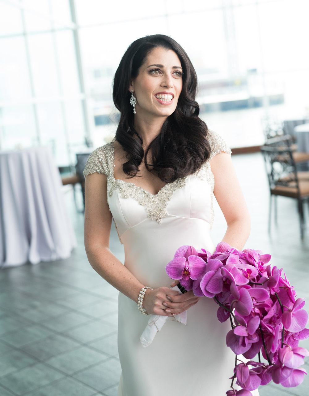 Photographer: Patrick McMullan  Prep location: Chatwal Hotel  Ceremony location: Lighthouse at Chelsea Piers  Hair by Chelsie Rodden for SB Beaut