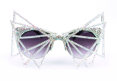 e0975ccada808 MATERIAL MEMORIE — CERA   IRIDESCENT SWAROVSKI CRYSTAL EMBELLISHED AND  ACRYLIC CAGE SUNGLASSES