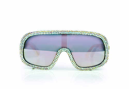 ebf4c476222b7 MATERIAL MEMORIE — 00015   IRIDESCENT SWAROVSKI CRYSTAL EMBELLISHED SHIELD  MIRROR SUNGLASSES