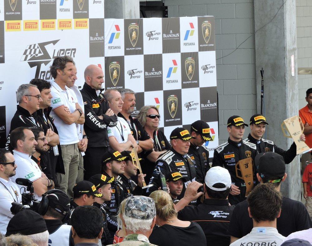 lamborghini super trofeo 2016 sebring race podium