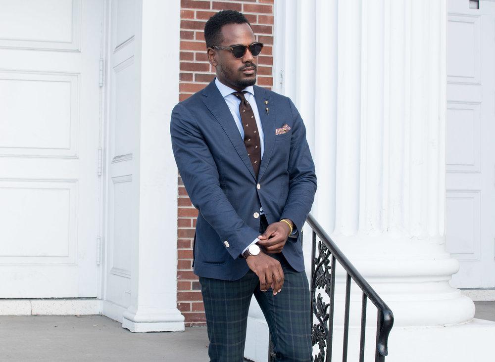 mens style navy blazer brown tie