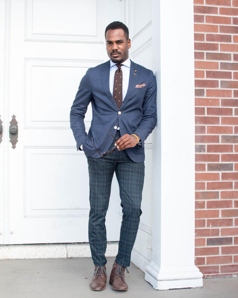 navy blazer mens style tartan