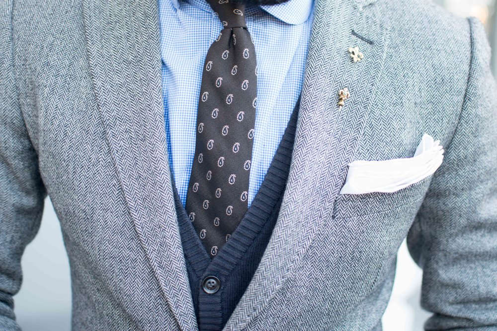 herringbone blazer navy cardigan brown tie fashion trends
