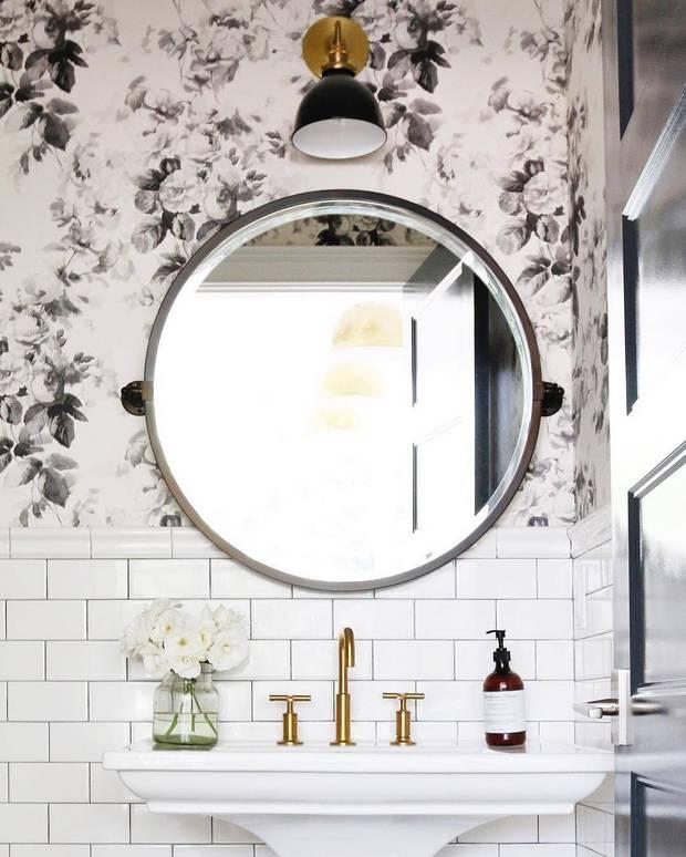 Domino. Floral. Bathroom. Wallpaper.