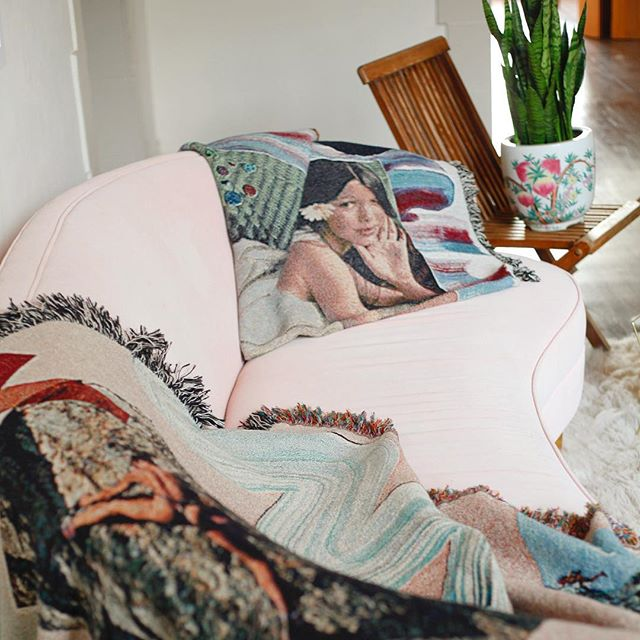 What's she thinking about? Laying on your bed! #formpluscolor Tapestry available in the shop