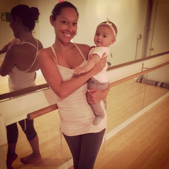 Teaching my Baby and Barre class. With my niece after loosing all my baby weight
