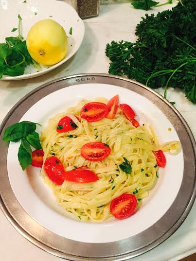 Lemon and Herb Pasta with Cherry Tomatoes. I reduced the amount of garlic the recipe called for to make it more appealing for my kids.
