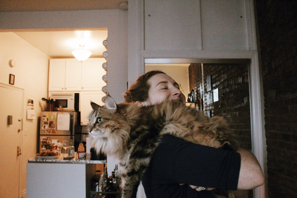 My friend Anna and her cat.