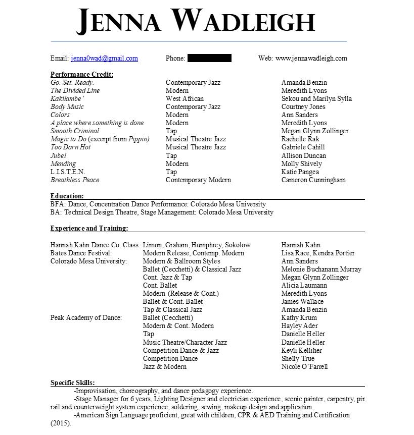 resumes jenna wadleigh