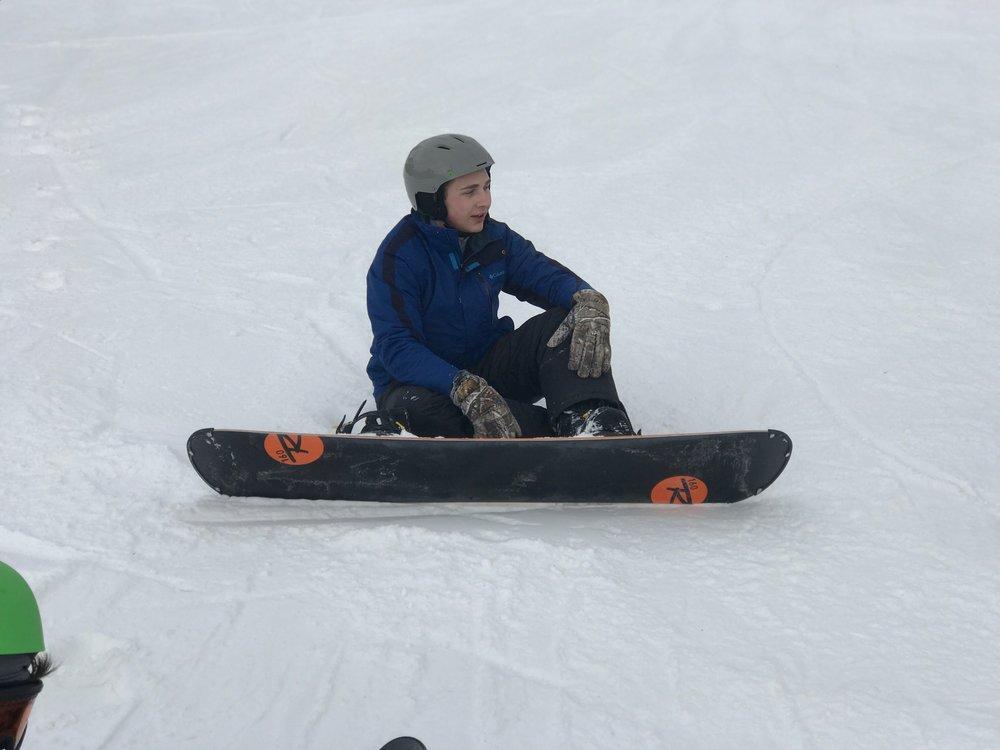 Kyle Scharm after a snowboarding run