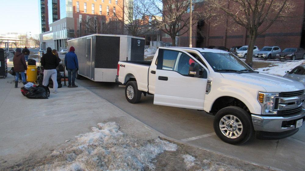 The team loading the trailer before leaving for Blizzard Baja
