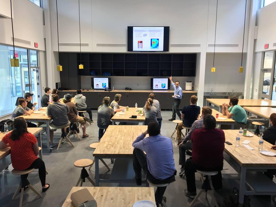 Professor Hiroyuki Sugiyama presenting his presentation at 2018 SAE Baja Night