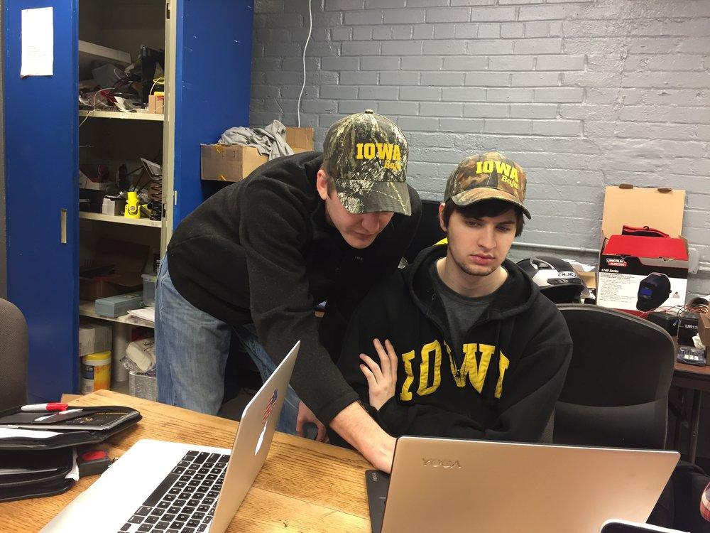 Vice President Rob Pohren & Treasurer Alex Dalziel working on the Sales Presentation