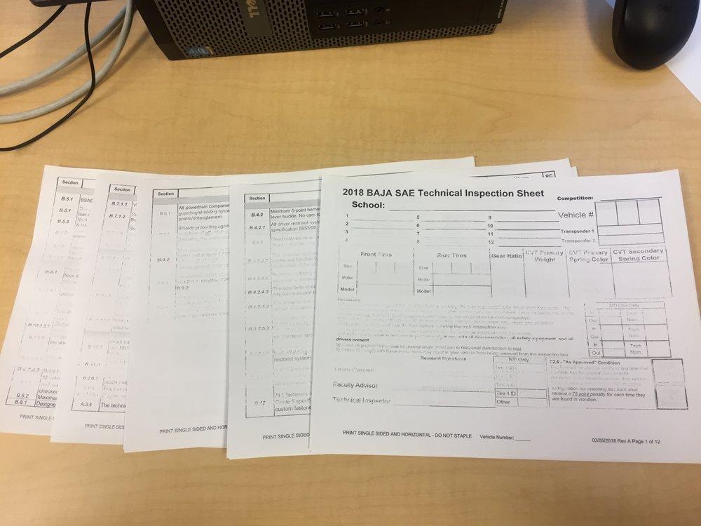 The 2018 Baja SAE Technical Inspection Form
