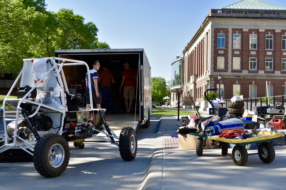 The team packing up our brand new trailer provided by the Mechanical Engineering Office at the University of Iowa!