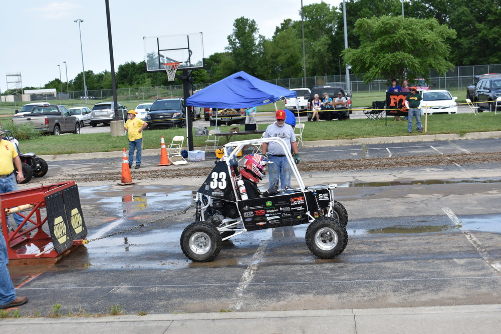 Mitch Evens driving the car for the sled pull dynamic event.