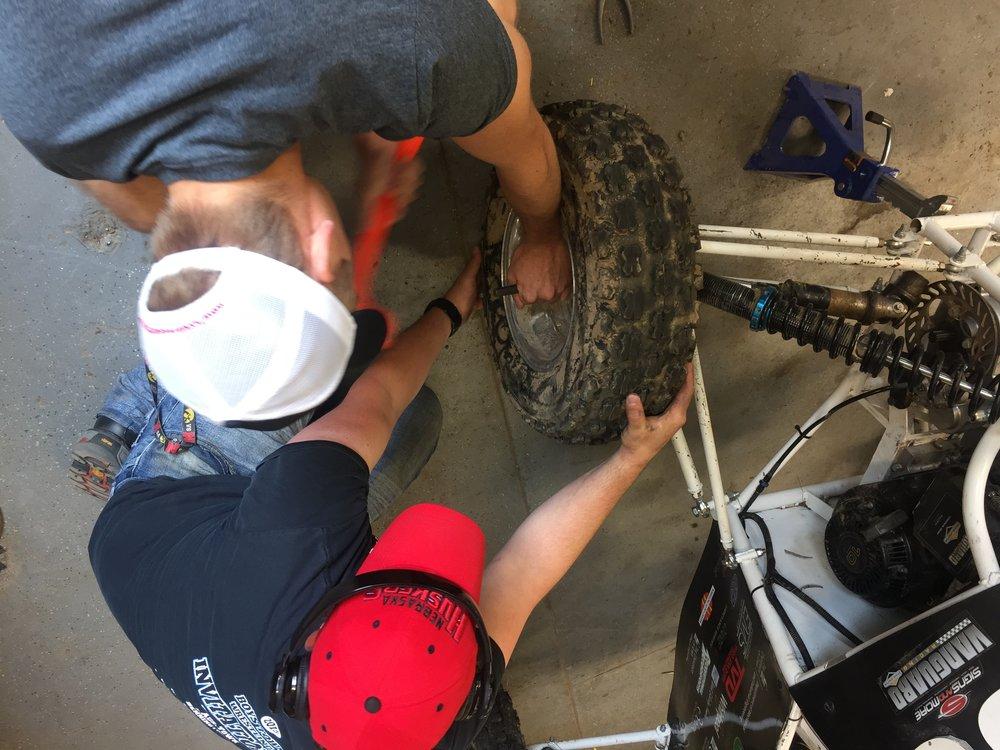 Members repairing the damage to  The Patriot