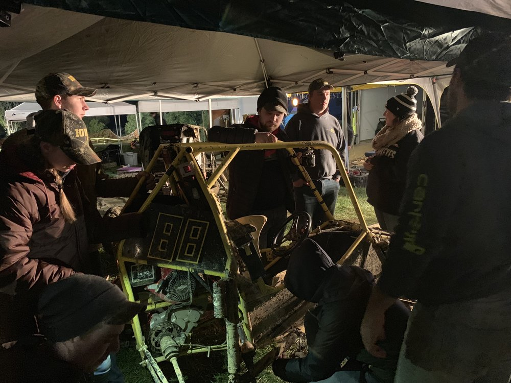 The team repairing Car 88 during the Sundown Showdown