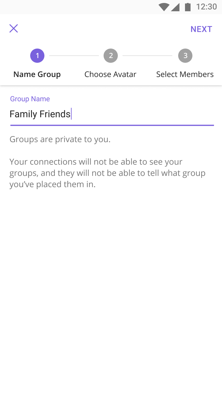 Group Creation - Screen 1