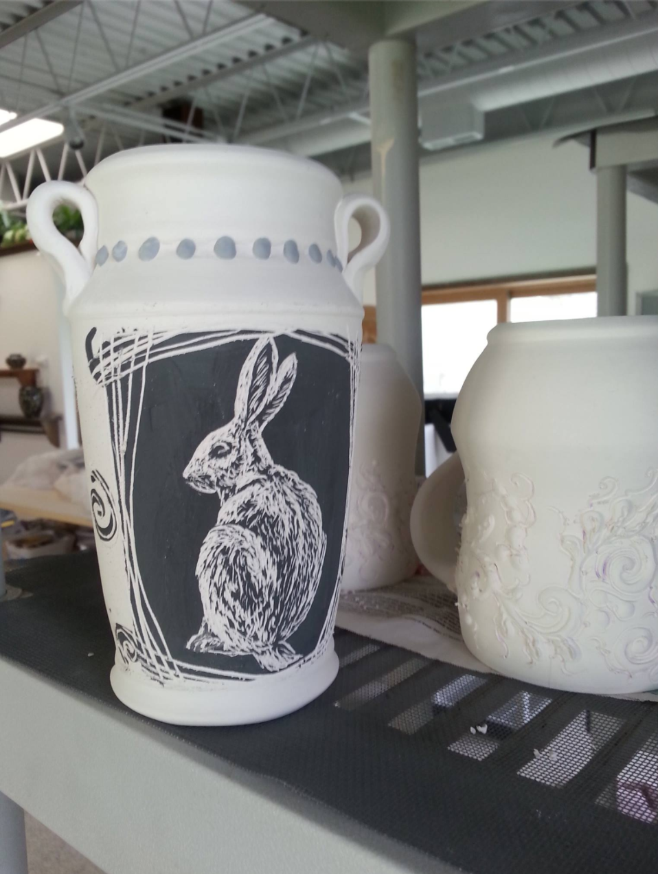 stone forest pottery process sgraffito mug