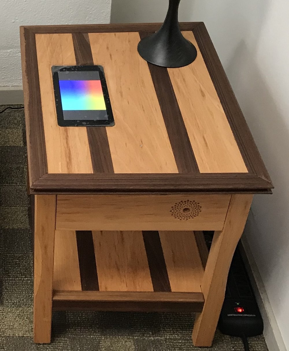 End Table: Beech / Walnut, Touch screen