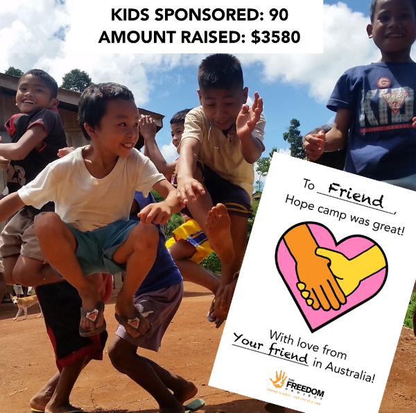 send a kid to camp campaign may 2018  Upon request of our field team in the Philippines, we launched a last-minute campaign to help sponsor kids to go on a peace-building camp over the school holidays. We were blown away by everyone's support and received sponsorships for over 90 kids, which was our initial goal. Each child will receive a card signed by their sponsor. We are so excited by this opportunity to connect out supporters to the projects in a tangible way.