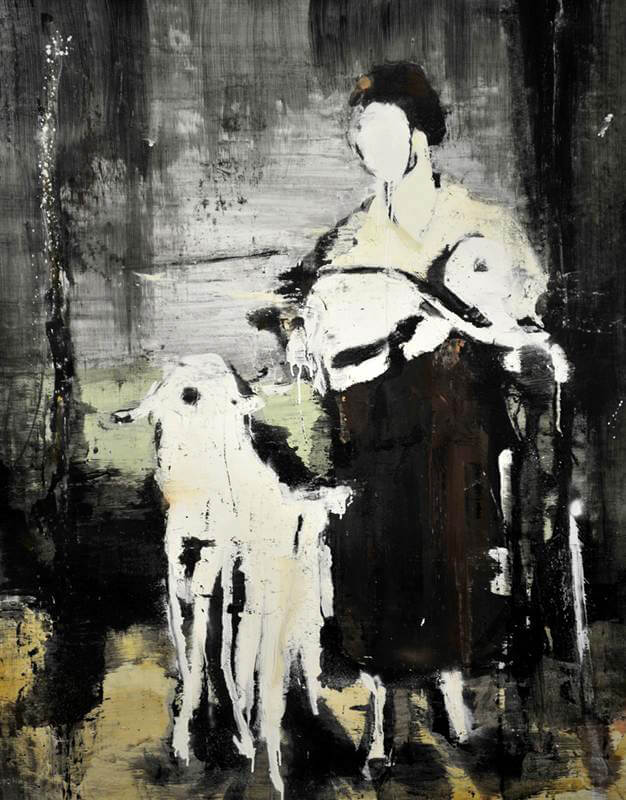 Girl with Lamb V, 2016, oil on canvas, 115x90 cm ca.