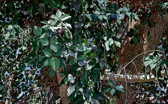 Op. 731 Gerico: tra le foglie del sicomoro maggio 2016 olio su tela di canapa cm 60x100