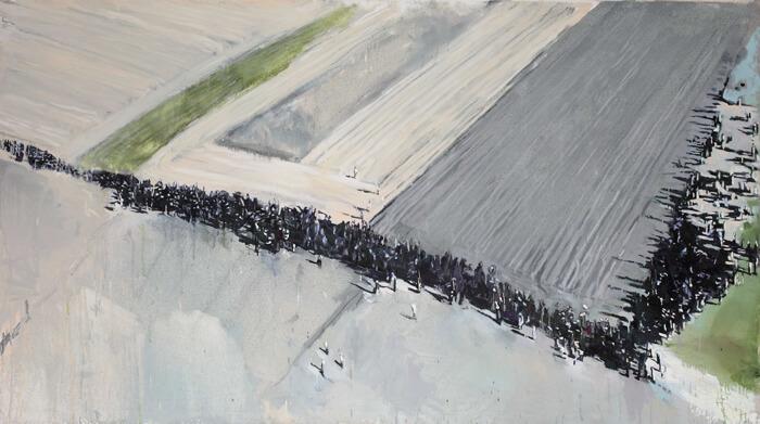 Attraverso i campi, 2016, olio su tela, 110x200 cm