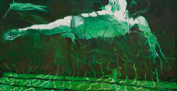 nuotatore2, 2015, olio su tela, 99x199 cm