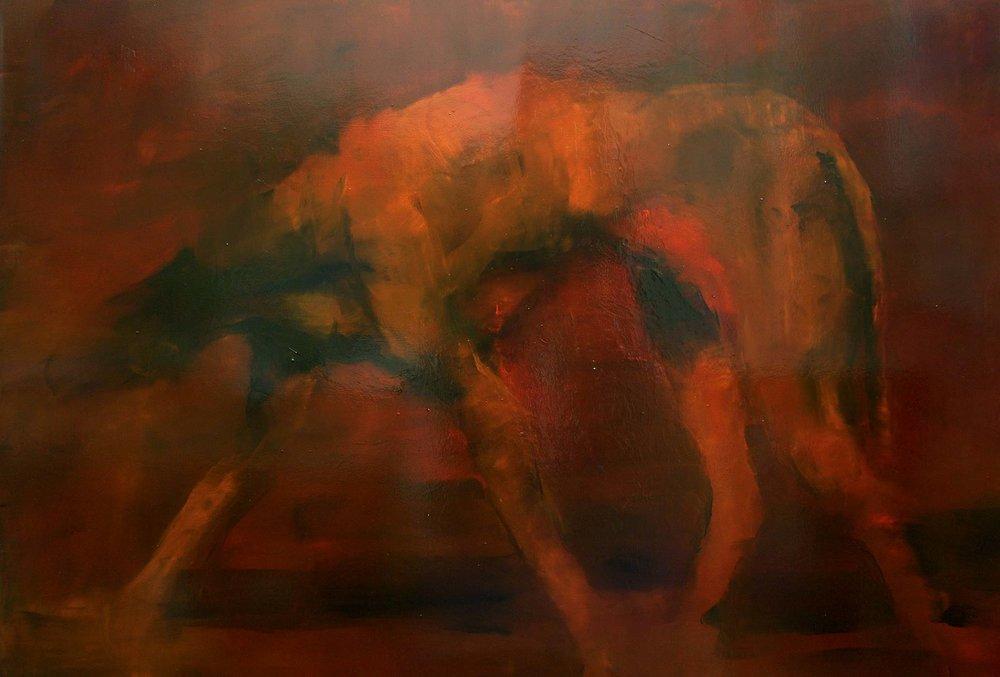 By fire, 2014, olio su tela, 100x150 cm
