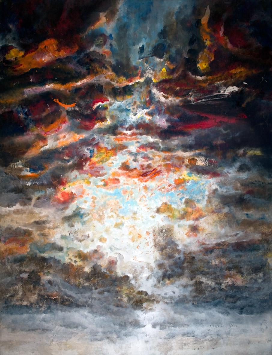 Francesco Santosuosso, L'Aube, 2014, t. mista su tela, 200x150 cm