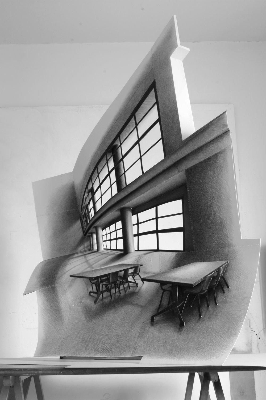 """Sala lettura Luigi Cosenza"" 2011  H 180 cm x 130 cm x 50 cm , carta disegnata a matita e cucita"