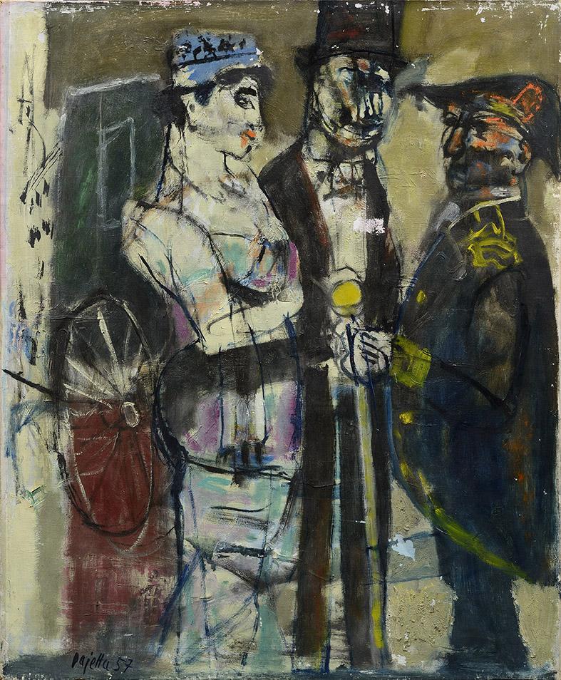 Coppia e autorità, 1957 olio su tela, 73 x 60 cm