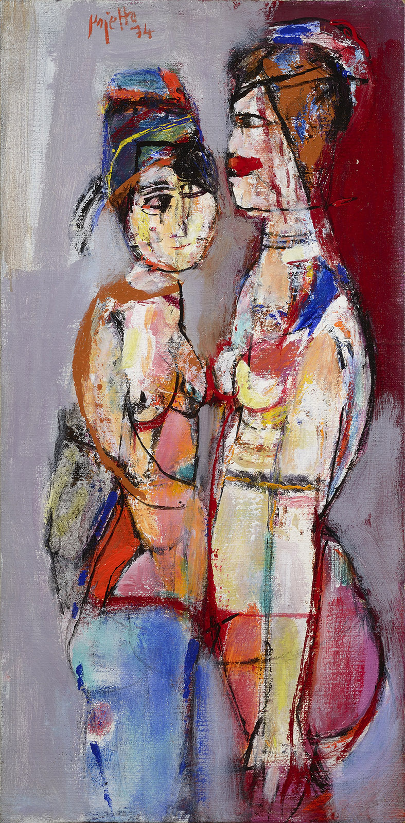Confronto, 1974 acrilico su tela, 90 x 45 cm