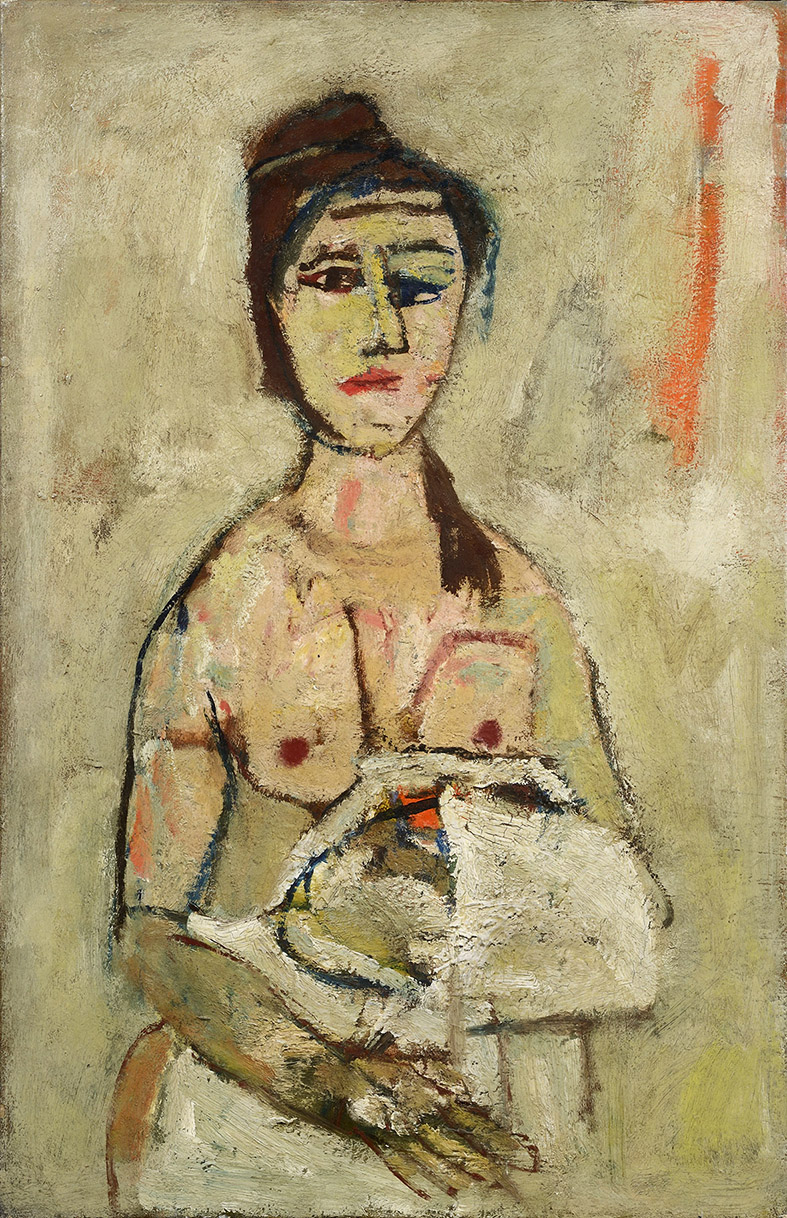 Donna a seni nudi, 1958 olio su tela, 91 x 60 cm
