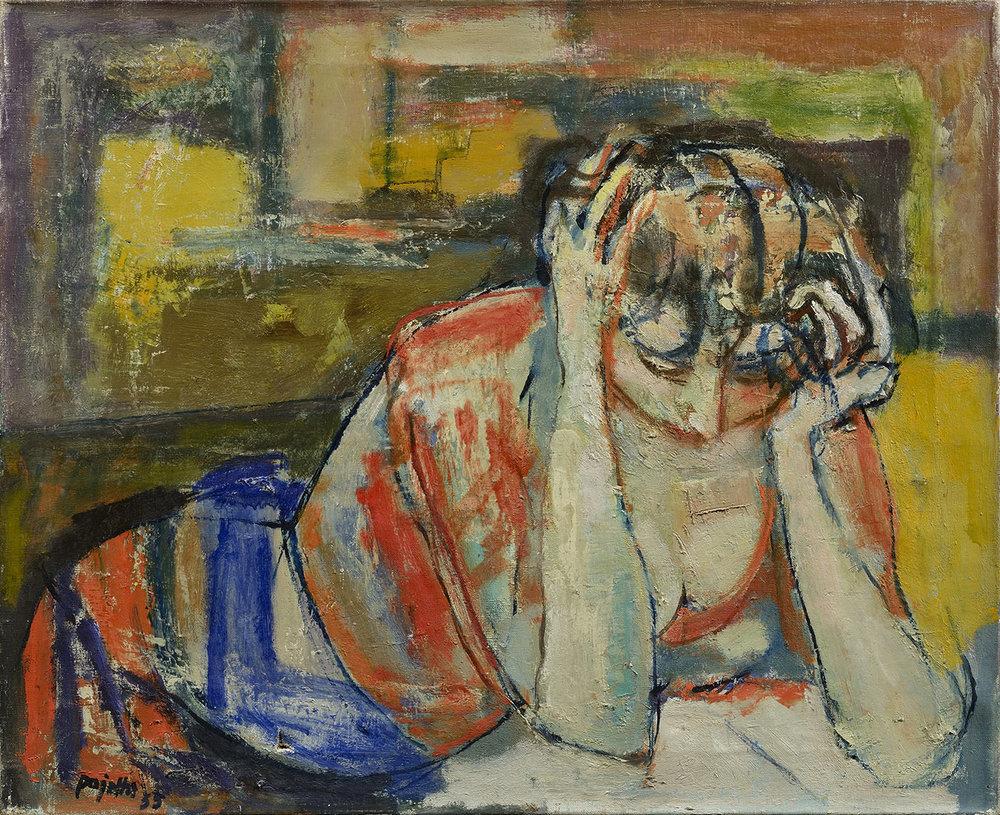 Donna assorta nella lettura, 1955 olio su tela 60 x 73 cm