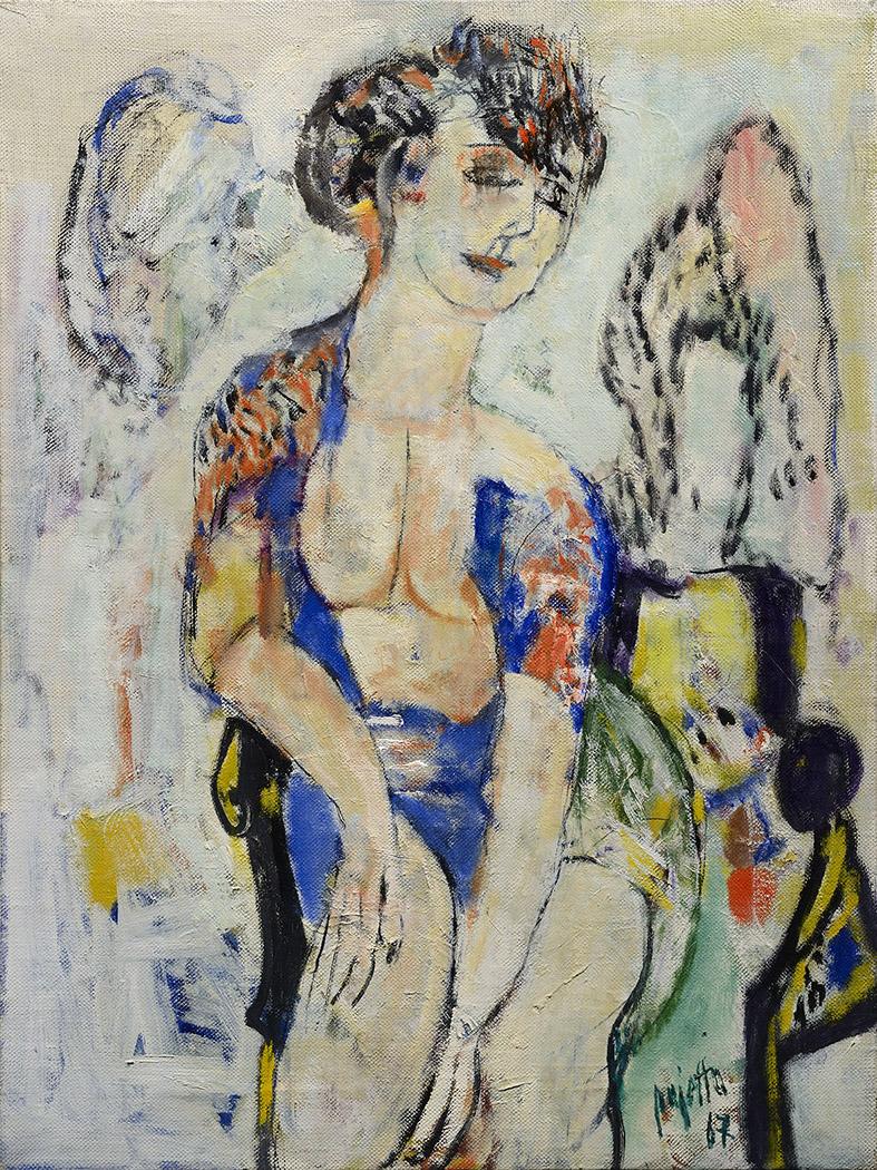 Donna con abito sbottonato sul davanti, 1967 acrilico su tela, 80 x 60 cm